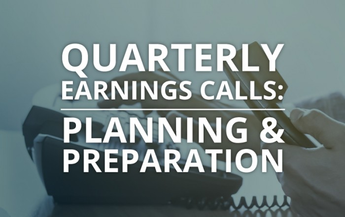 quarterly earnings calls, planning and preparation