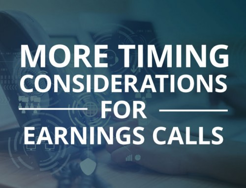 More Timing Considerations For Earnings Calls